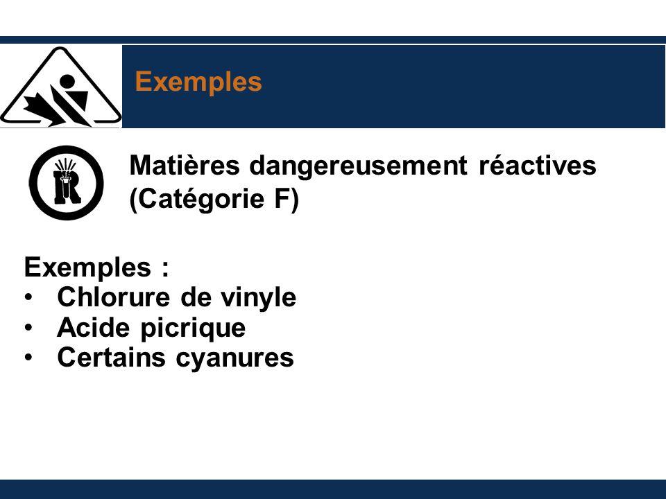 Exemples Matières dangereusement réactives (Catégorie F) Exemples : Chlorure de vinyle Acide picrique Certains cyanures
