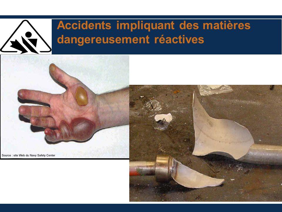 Accidents impliquant des matières dangereusement réactives