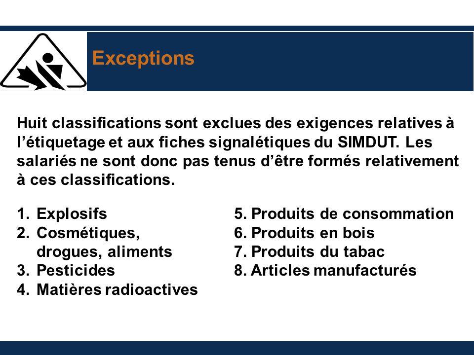 Exceptions Huit classifications sont exclues des exigences relatives à létiquetage et aux fiches signalétiques du SIMDUT. Les salariés ne sont donc pa