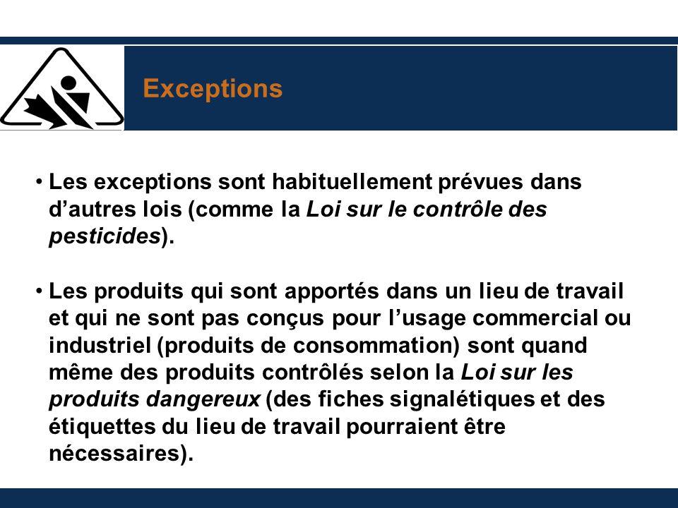 Exceptions Les exceptions sont habituellement prévues dans dautres lois (comme la Loi sur le contrôle des pesticides). Les produits qui sont apportés