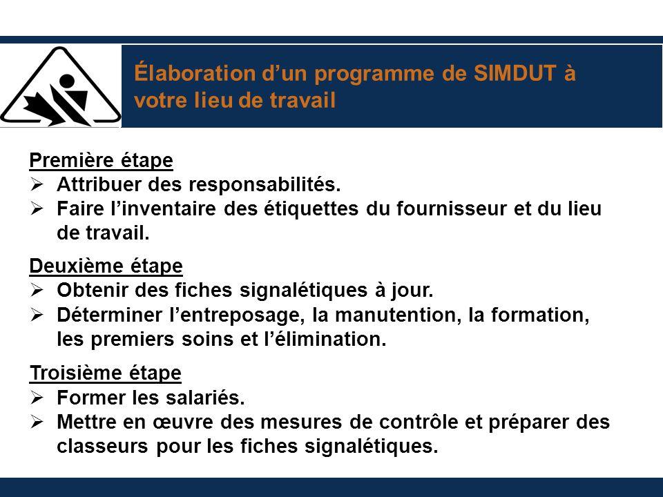 Élaboration dun programme de SIMDUT à votre lieu de travail Première étape Attribuer des responsabilités. Faire linventaire des étiquettes du fourniss