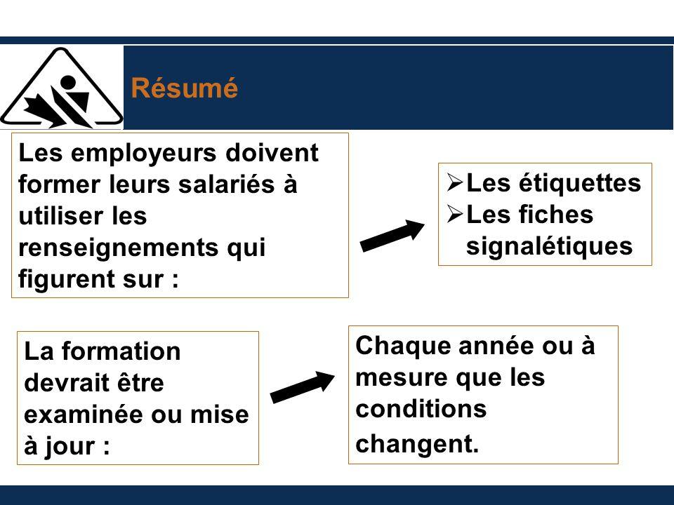 Résumé Les employeurs doivent former leurs salariés à utiliser les renseignements qui figurent sur : La formation devrait être examinée ou mise à jour
