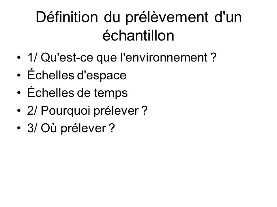 Définition du prélèvement d un échantillon 1/ Qu est-ce que l environnement .