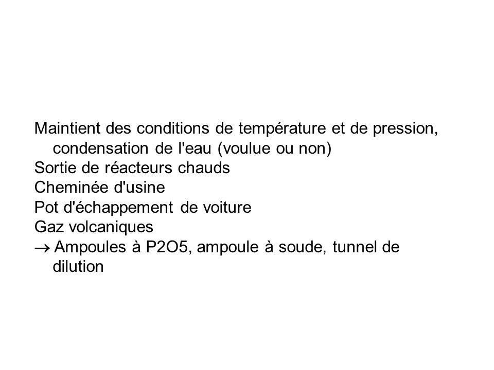 Maintient des conditions de température et de pression, condensation de l eau (voulue ou non) Sortie de réacteurs chauds Cheminée d usine Pot d échappement de voiture Gaz volcaniques Ampoules à P2O5, ampoule à soude, tunnel de dilution
