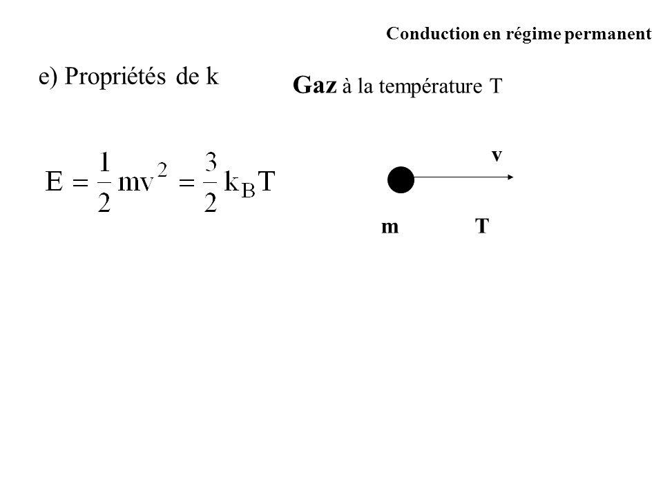 Gaz à la température T m v T e) Propriétés de k Conduction en régime permanent