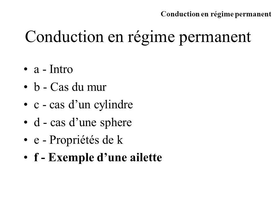 a - Intro b - Cas du mur c - cas dun cylindre d - cas dune sphere e - Propriétés de k f - Exemple dune ailette Conduction en régime permanent