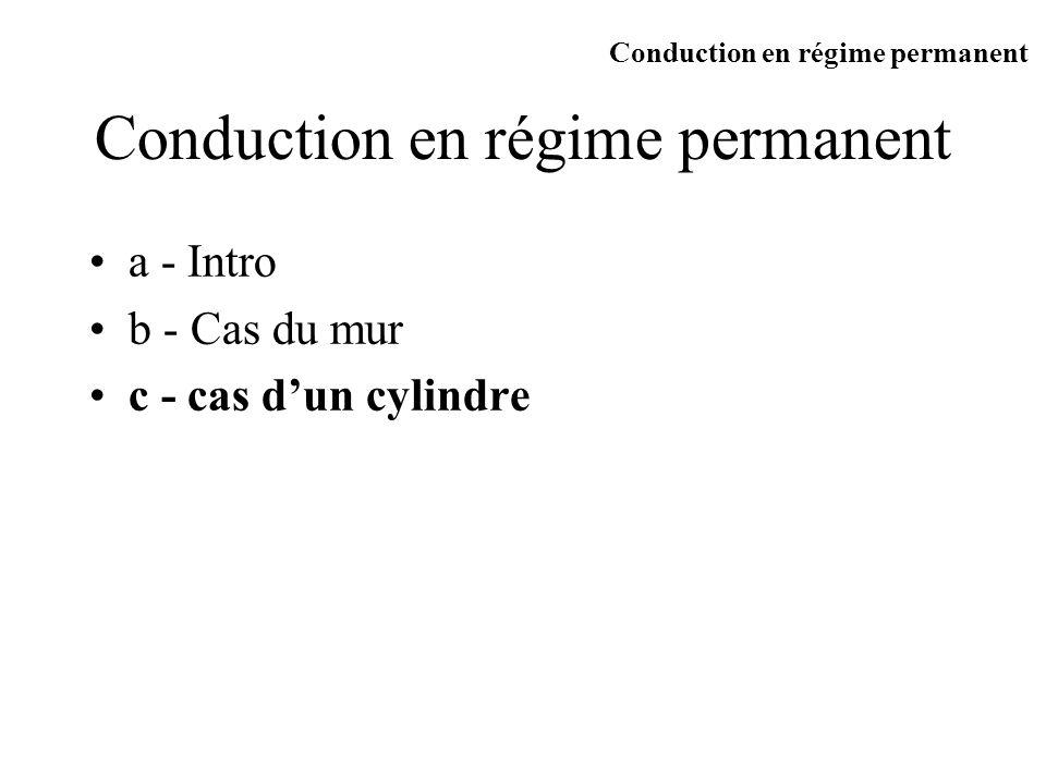 c) cas dune couronne cylindrique R1 R2 r T1 T2 A travers le cylindre de rayon r En régime permanent q est indépendant de r L Conduction en régime permanent