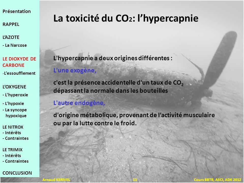 L hypercapnie a deux origines différentes : L une exogène, c est la présence accidentelle d un taux de CO 2 dépassant la normale dans les bouteilles L autre endogène, d origine métabolique, provenant de lactivité musculaire ou par la lutte contre le froid.