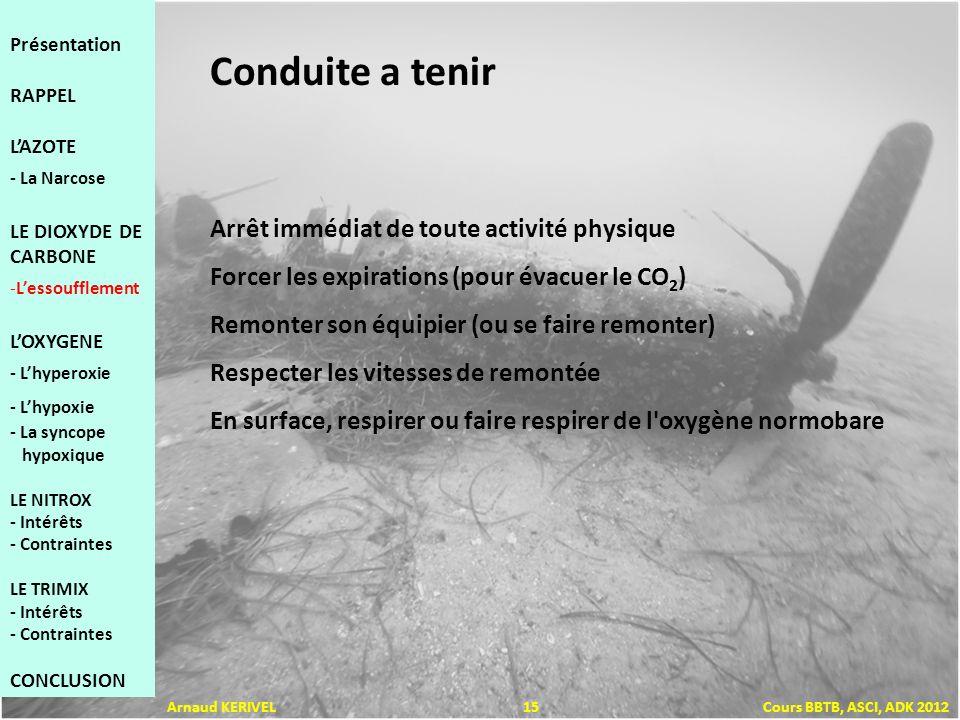 Conduite a tenir Arrêt immédiat de toute activité physique Forcer les expirations (pour évacuer le CO 2 ) Remonter son équipier (ou se faire remonter) Respecter les vitesses de remontée En surface, respirer ou faire respirer de l oxygène normobare Présentation RAPPEL LAZOTE - La Narcose LE DIOXYDE DE CARBONE -Lessoufflement LOXYGENE - Lhyperoxie - Lhypoxie - La syncope hypoxique LE NITROX - Intérêts - Contraintes LE TRIMIX - Intérêts - Contraintes CONCLUSION Arnaud KERIVEL 15 Cours BBTB, ASCI, ADK 2012