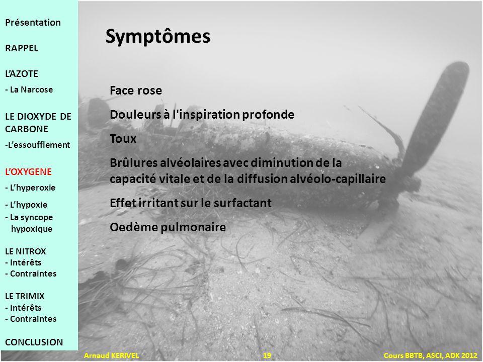 Symptômes Face rose Douleurs à l inspiration profonde Toux Brûlures alvéolaires avec diminution de la capacité vitale et de la diffusion alvéolo-capillaire Effet irritant sur le surfactant Oedème pulmonaire Présentation RAPPEL LAZOTE - La Narcose LE DIOXYDE DE CARBONE -Lessoufflement LOXYGENE - Lhyperoxie - Lhypoxie - La syncope hypoxique LE NITROX - Intérêts - Contraintes LE TRIMIX - Intérêts - Contraintes CONCLUSION Arnaud KERIVEL 19 Cours BBTB, ASCI, ADK 2012