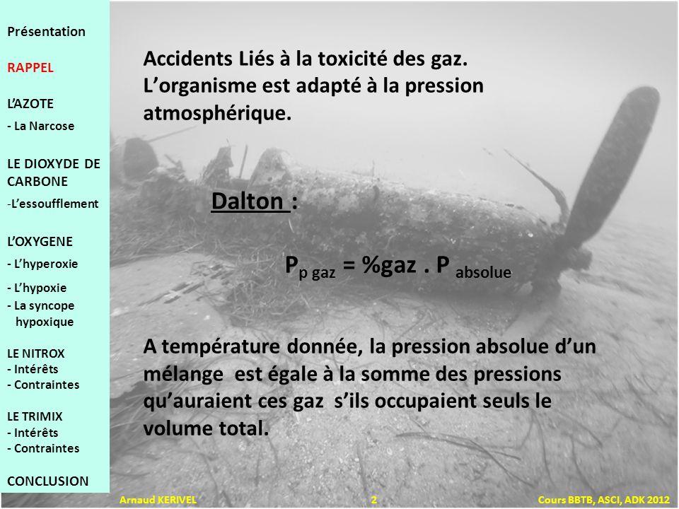 Accidents Liés à la toxicité des gaz. Lorganisme est adapté à la pression atmosphérique. Dalton : P p gaz = %gaz. P absolue A température donnée, la p