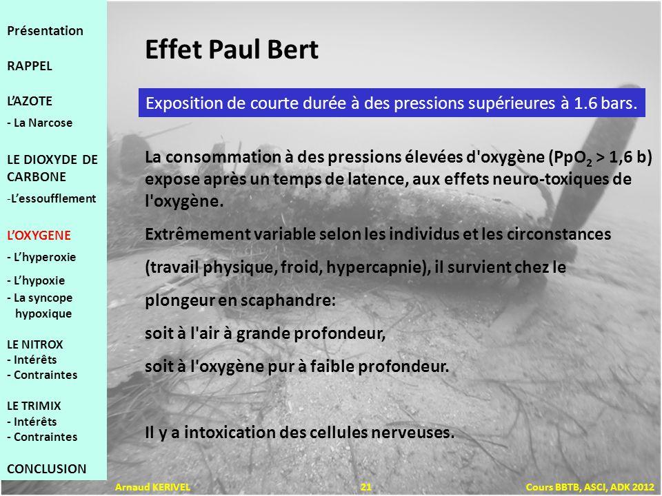Effet Paul Bert Exposition de courte durée à des pressions supérieures à 1.6 bars. La consommation à des pressions élevées d'oxygène (PpO 2 > 1,6 b) e