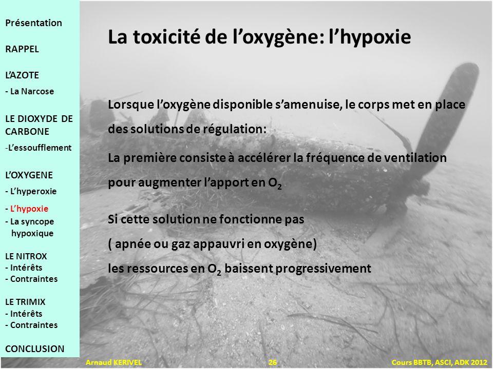 La toxicité de loxygène: lhypoxie Lorsque loxygène disponible samenuise, le corps met en place des solutions de régulation: La première consiste à accélérer la fréquence de ventilation pour augmenter lapport en O 2 Si cette solution ne fonctionne pas ( apnée ou gaz appauvri en oxygène) les ressources en O 2 baissent progressivement Présentation RAPPEL LAZOTE - La Narcose LE DIOXYDE DE CARBONE -Lessoufflement LOXYGENE - Lhyperoxie - Lhypoxie - La syncope hypoxique LE NITROX - Intérêts - Contraintes LE TRIMIX - Intérêts - Contraintes CONCLUSION Arnaud KERIVEL 26 Cours BBTB, ASCI, ADK 2012