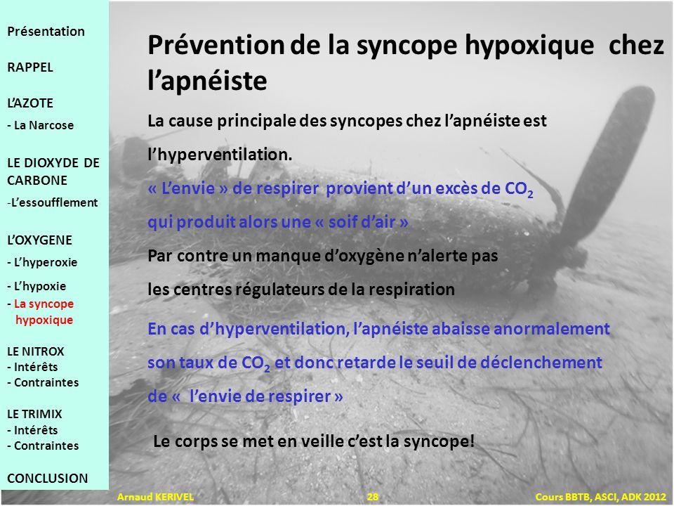 Prévention de la syncope hypoxique chez lapnéiste La cause principale des syncopes chez lapnéiste est lhyperventilation. « Lenvie » de respirer provie