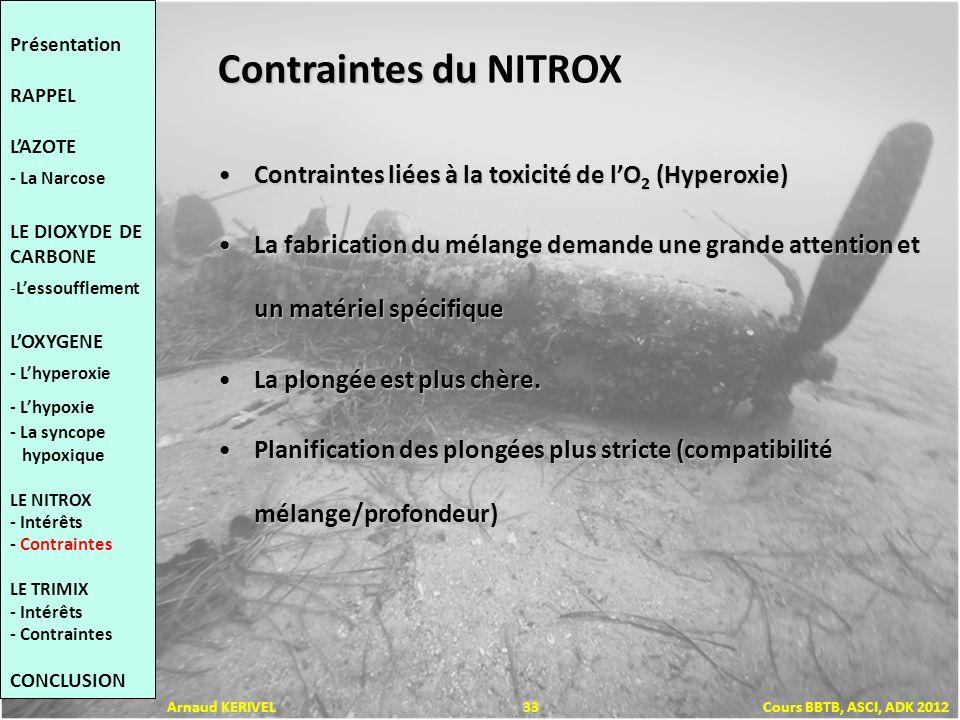 Contraintes du Contraintes du NITROX Contraintes liées à la toxicité de lO 2 (Hyperoxie)Contraintes liées à la toxicité de lO 2 (Hyperoxie) La fabrica