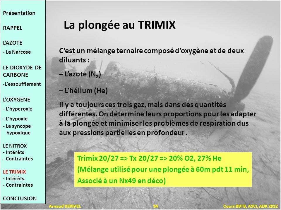 La plongée au TRIMIX Cest un mélange ternaire composé doxygène et de deux diluants : – Lazote (N 2 ) – Lhélium (He) Il y a toujours ces trois gaz, mai