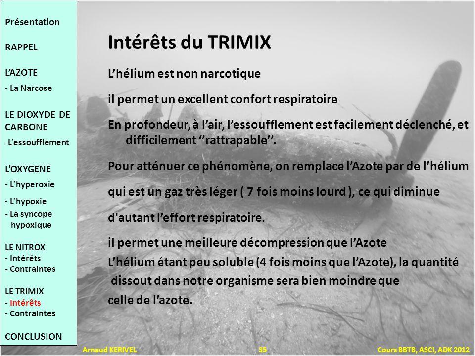 Intérêts du TRIMIX Lhélium est non narcotique il permet un excellent confort respiratoire En profondeur, à lair, lessoufflement est facilement déclenché, et difficilement rattrapable.