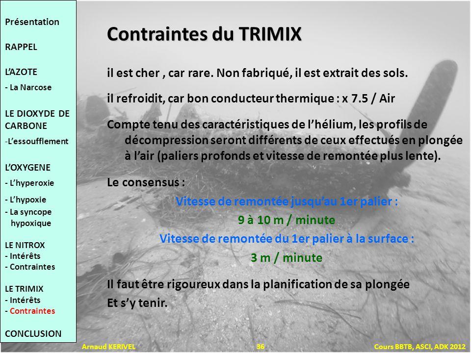 Contraintes du TRIMIX il est cher, car rare. Non fabriqué, il est extrait des sols. il refroidit, car bon conducteur thermique : x 7.5 / Air Compte te