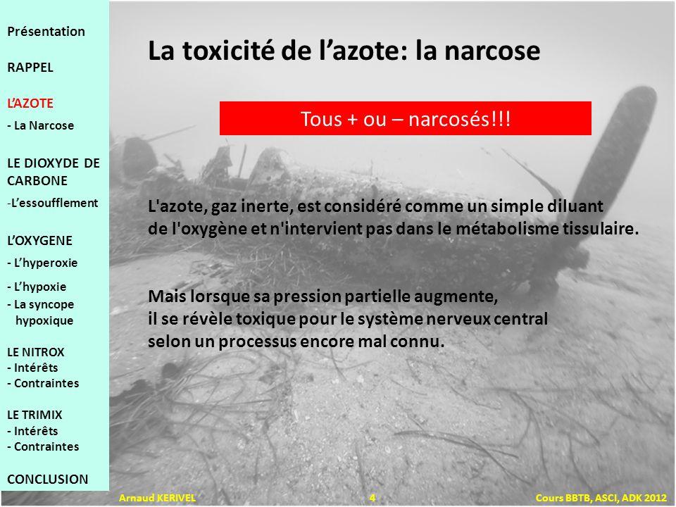 Présentation RAPPEL LAZOTE - La Narcose LE DIOXYDE DE CARBONE -Lessoufflement LOXYGENE - Lhyperoxie - Lhypoxie - La syncope hypoxique LE NITROX - Intérêts - Contraintes LE TRIMIX - Intérêts - Contraintes CONCLUSION Arnaud KERIVEL 5 Cours BBTB, ASCI, ADK 2012