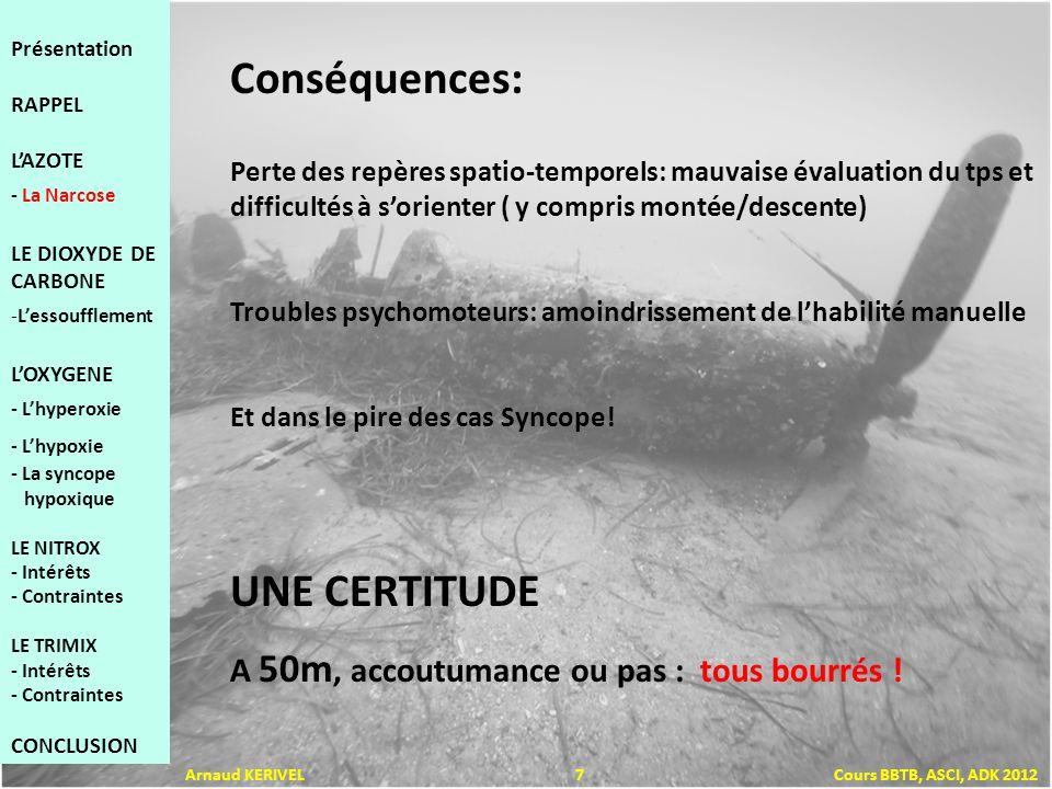 Rapidité de la descente et retournement brutal (perturbation des centres de léquilibre) Fatigue physique et/ou psychique Alcool Effort musculaire (le CO 2 favoriserait la narcose) Conditions stressantes (descente en pleine eau, visibilité, froid, état de la mer …) Facteurs favorisants: Présentation RAPPEL LAZOTE - La Narcose LE DIOXYDE DE CARBONE -Lessoufflement LOXYGENE - Lhyperoxie - Lhypoxie - La syncope hypoxique LE NITROX - Intérêts - Contraintes LE TRIMIX - Intérêts - Contraintes CONCLUSION Arnaud KERIVEL 8 Cours BBTB, ASCI, ADK 2012