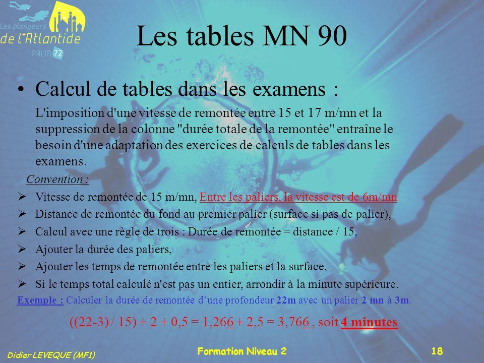 Didier LEVEQUE (MF1) Formation Niveau 218 Les tables MN 90 Calcul de tables dans les examens : L'imposition d'une vitesse de remontée entre 15 et 17 m
