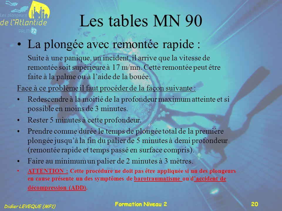 Didier LEVEQUE (MF1) Formation Niveau 220 Les tables MN 90 La plongée avec remontée rapide : Suite à une panique, un incident, il arrive que la vitess