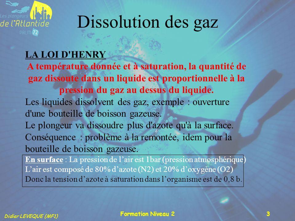 Didier LEVEQUE (MF1) Formation Niveau 23 Dissolution des gaz LA LOI D'HENRY A température donnée et à saturation, la quantité de gaz dissoute dans un