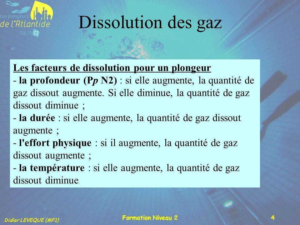 Didier LEVEQUE (MF1) Formation Niveau 24 Les facteurs de dissolution pour un plongeur - la profondeur (Pp N2) : si elle augmente, la quantité de gaz d