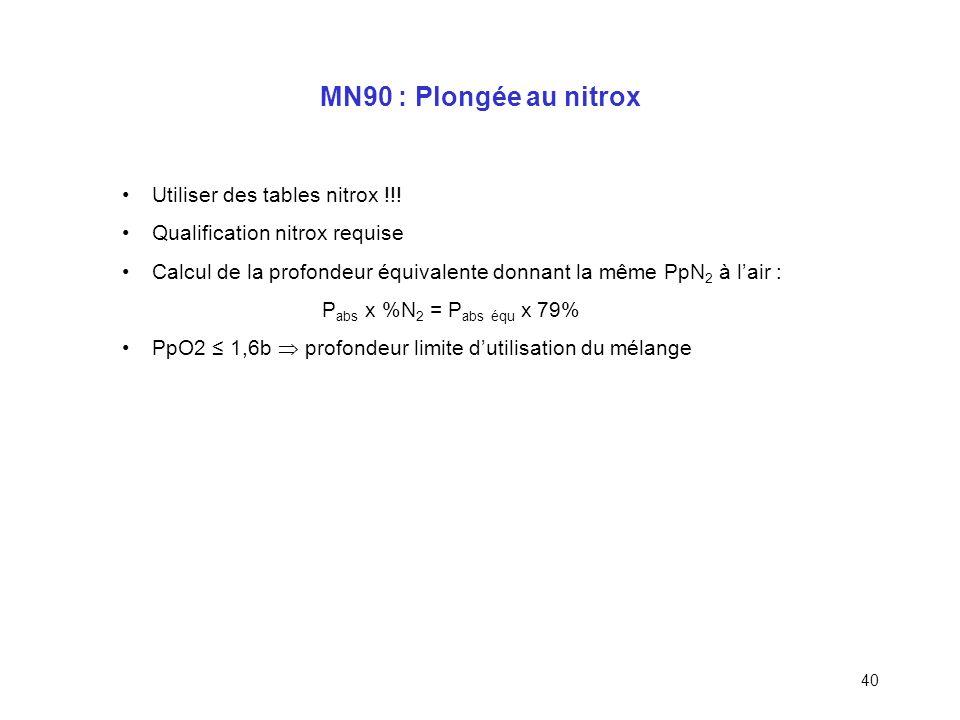 39 MN90 : Plongée en altitude (suite) Profondeur fictive = profondeur réelle x H 0 /H (> profondeur réelle) Profondeur paliers = profondeur palier tab