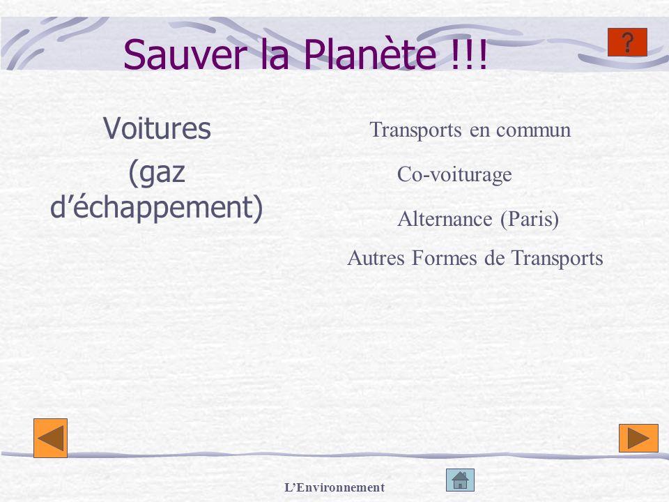 LEnvironnement Sauver la Planète !!! Voitures (gaz déchappement) Transports en commun Co-voiturage Alternance (Paris) Autres Formes de Transports