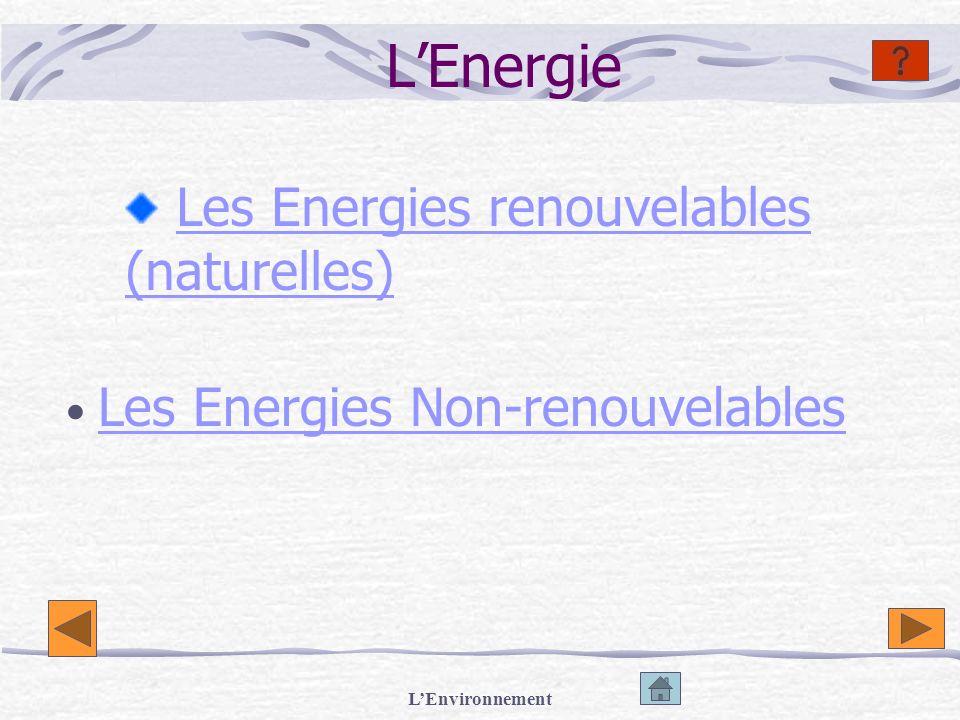 LEnvironnement Les Energies Renouvelables Lénergie éolienne Lenergie solaire Lénergie hydraulique (barrage) Lénergie des marémotrices Lhydro-électricité Hydrogène Dendroénergie Lénergie géothermique
