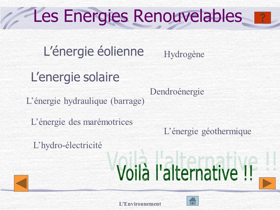 LEnvironnement Les Energies Renouvelables Lénergie éolienne Lenergie solaire Lénergie hydraulique (barrage) Lénergie des marémotrices Lhydro-électrici