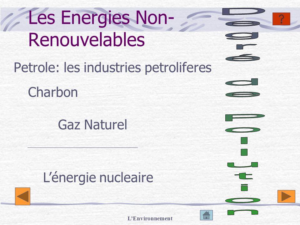 LEnvironnement Les Energies Non- Renouvelables Petrole: les industries petroliferes Lénergie nucleaire Charbon Gaz Naturel