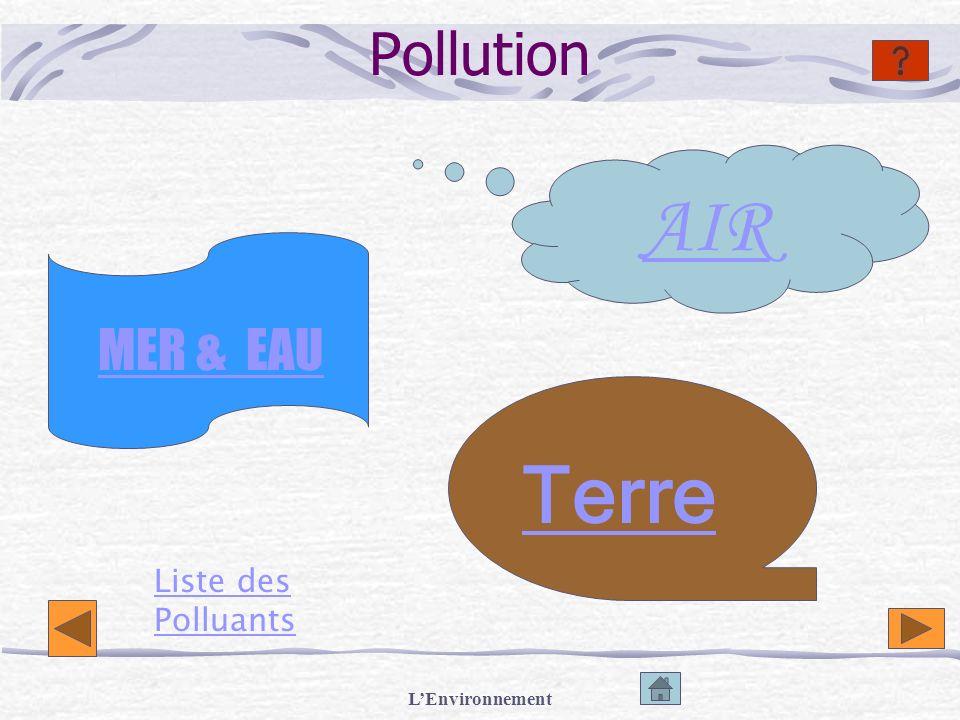 LEnvironnement Sources Polluantes Pétrole (mazout) Gaz déchappement et domestiques (CFC) Eaux Usees Engrais agricoles (nappe phréatique)