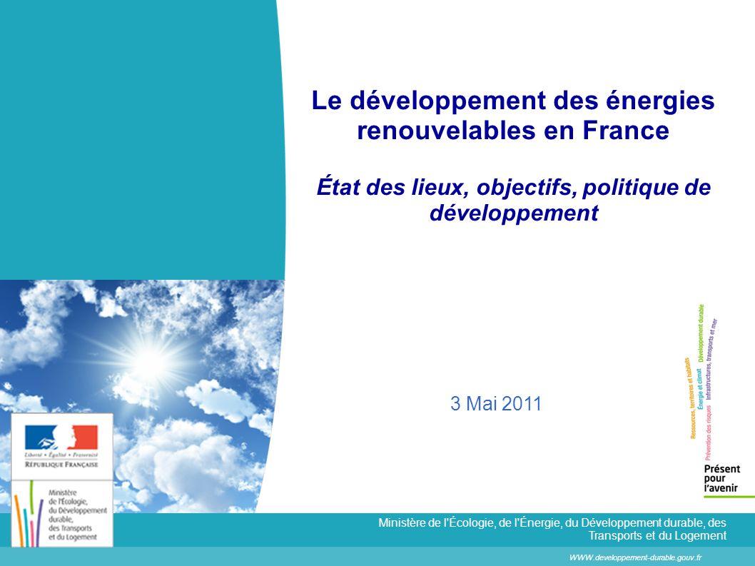 2 État des lieux, objectifs, politique de développement Des objectifs ambitieux fixés par le Grenelle Environnement… + 20 Mtep Une augmentation de la production de 20 Mtep dont : + 10 Mtep de chaleur renouvelable + 7 Mtep délectricité renouvelable avec: 5 Mtep déolien, 1,2 Mtep de biomasse 0,5 Mtep de PV, 0,3 Mtep dhydroélectricité + 3 Mtep de biocarburants Objectif de production dénergie renouvelable