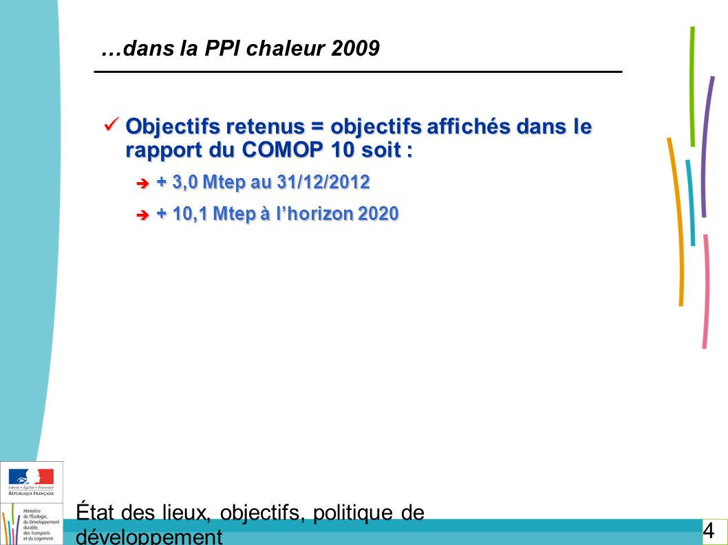 Incitations réglementaires : Incitations réglementaires : TVA à taux réduit (5,5 %) sur la fourniture de chaleur : abaissement du seuil de 60 % à 50 % dénergies renouvelables et de récupération (LFR 2008) TVA à taux réduit (5,5 %) sur la fourniture de chaleur : abaissement du seuil de 60 % à 50 % dénergies renouvelables et de récupération (LFR 2008) Simplification de la procédure de classement et prolongation de la durée de concession en cas d investissements dans les énergies renouvelables ou de récupération (loi Grenelle 2) Simplification de la procédure de classement et prolongation de la durée de concession en cas d investissements dans les énergies renouvelables ou de récupération (loi Grenelle 2) État des lieux - réseaux de chaleur