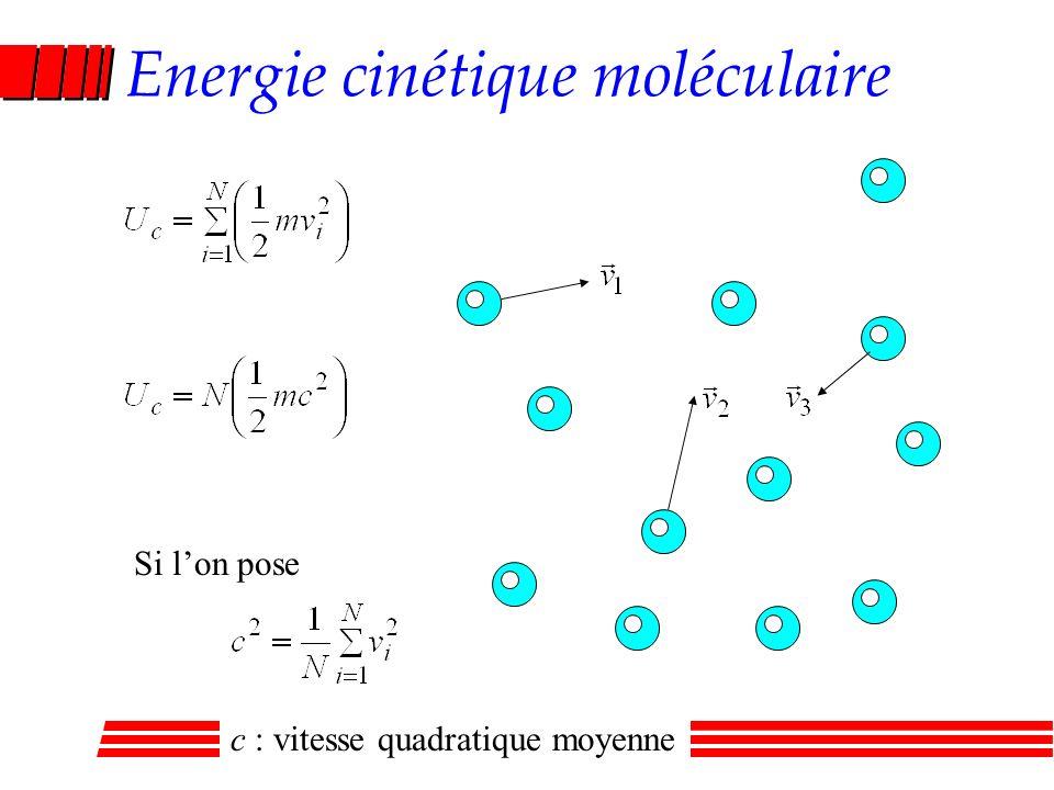 Energie cinétique moléculaire Si lon pose c : vitesse quadratique moyenne
