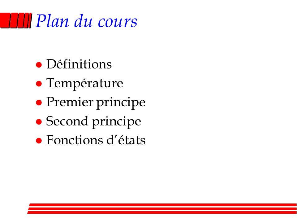 Plan du cours l Définitions l Température l Premier principe l Second principe l Fonctions détats