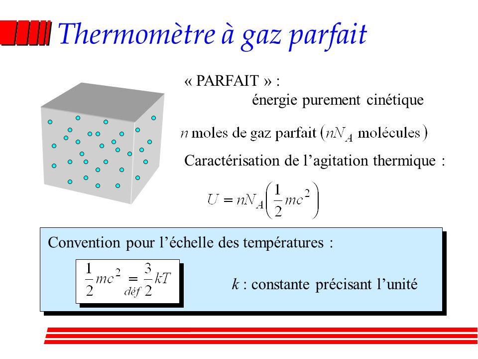 Thermomètre à gaz parfait Caractérisation de lagitation thermique : Convention pour léchelle des températures : k : constante précisant lunité « PARFAIT » : énergie purement cinétique
