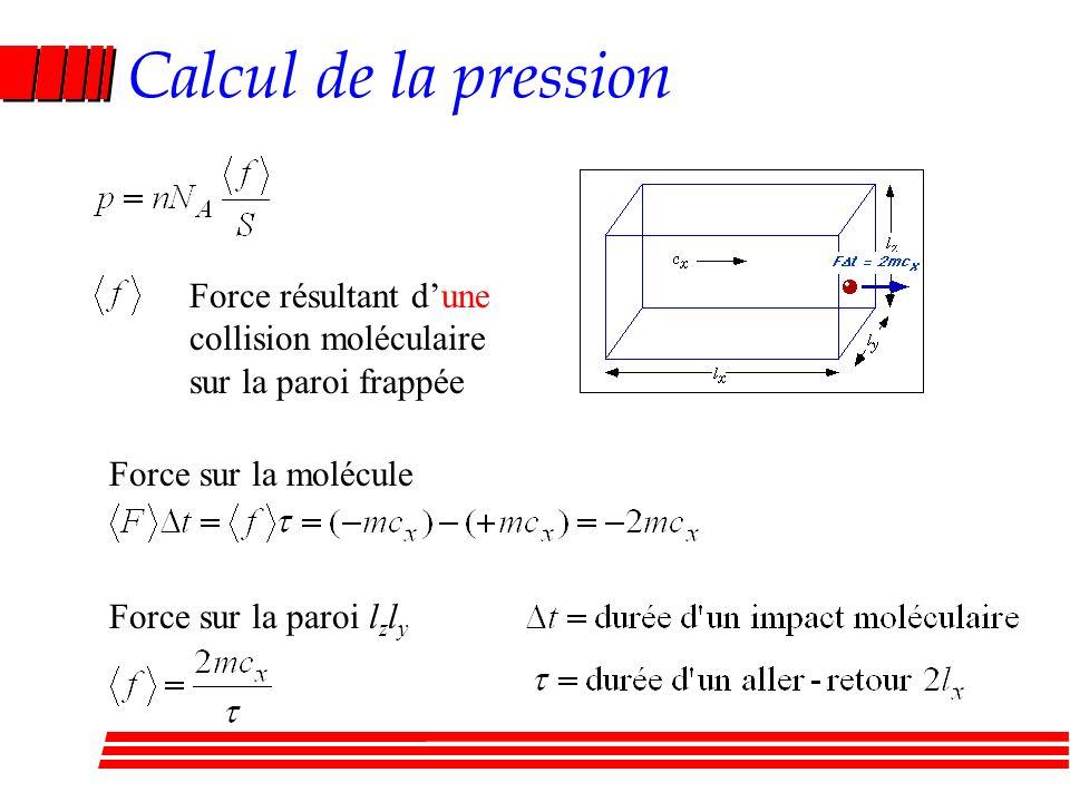Calcul de la pression Force résultant dune collision moléculaire sur la paroi frappée Force sur la molécule Force sur la paroi l z l y
