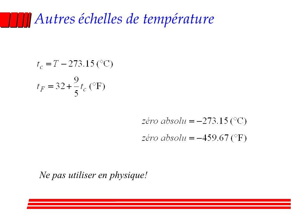 Autres échelles de température Ne pas utiliser en physique!