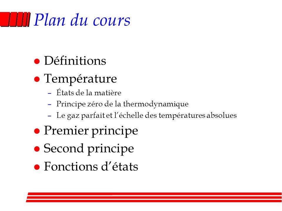 Plan du cours l Définitions l Température l Premier principe –Échange dénergie : chaleur et travail –Conservation de lénergie interne –Transformations du gaz parfait l Second principe l Fonctions détats