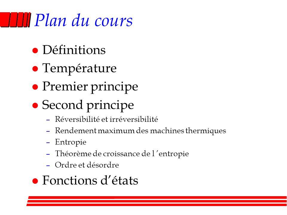 Plan du cours l Définitions l Température l Premier principe l Second principe –Réversibilité et irréversibilité –Rendement maximum des machines thermiques –Entropie –Théorème de croissance de l entropie –Ordre et désordre l Fonctions détats