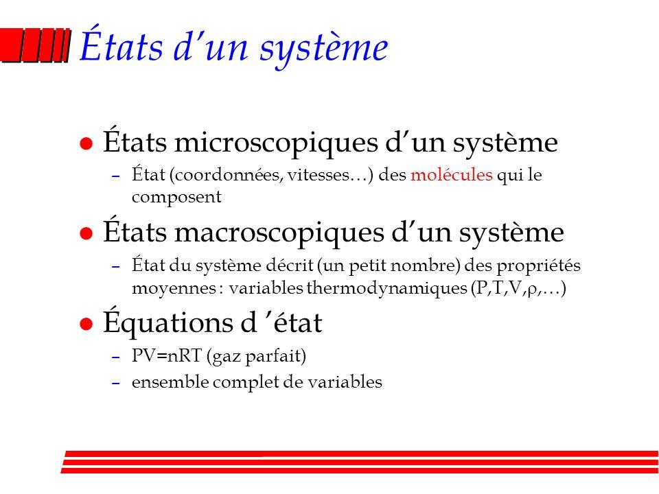 États dun système l États microscopiques dun système –État (coordonnées, vitesses…) des molécules qui le composent l États macroscopiques dun système –État du système décrit (un petit nombre) des propriétés moyennes : variables thermodynamiques (P,T,V,,…) l Équations d état –PV=nRT (gaz parfait) –ensemble complet de variables