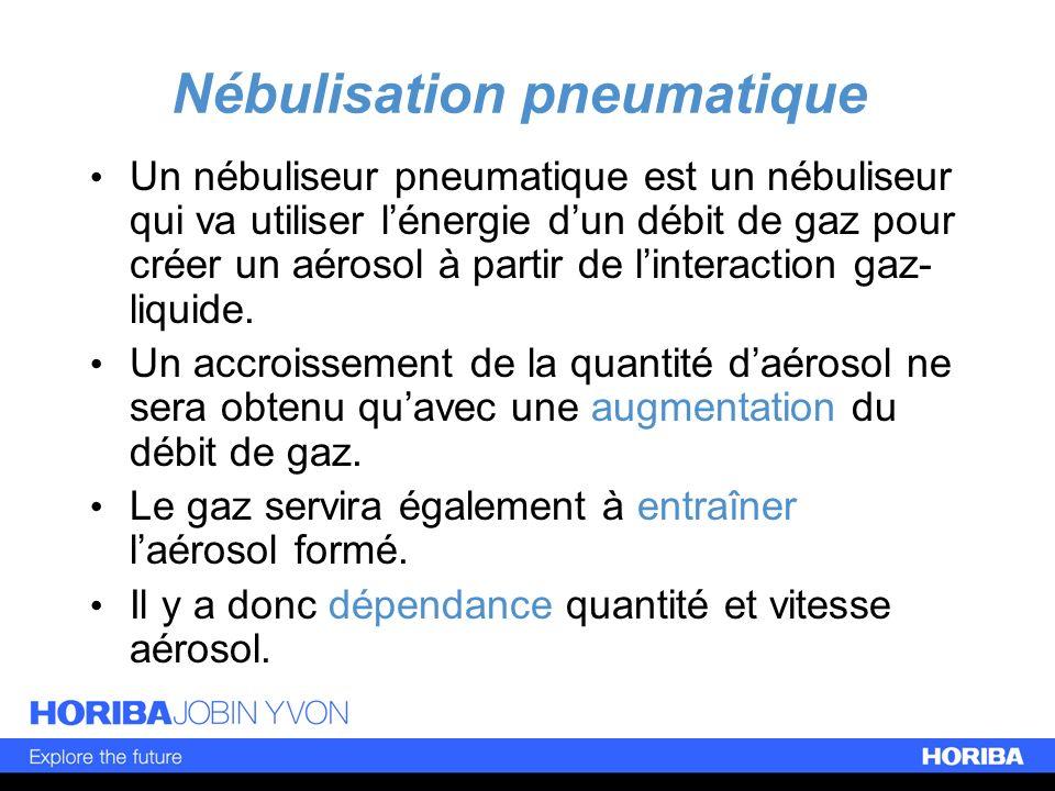 Nébulisation pneumatique Un nébuliseur pneumatique est un nébuliseur qui va utiliser lénergie dun débit de gaz pour créer un aérosol à partir de linte