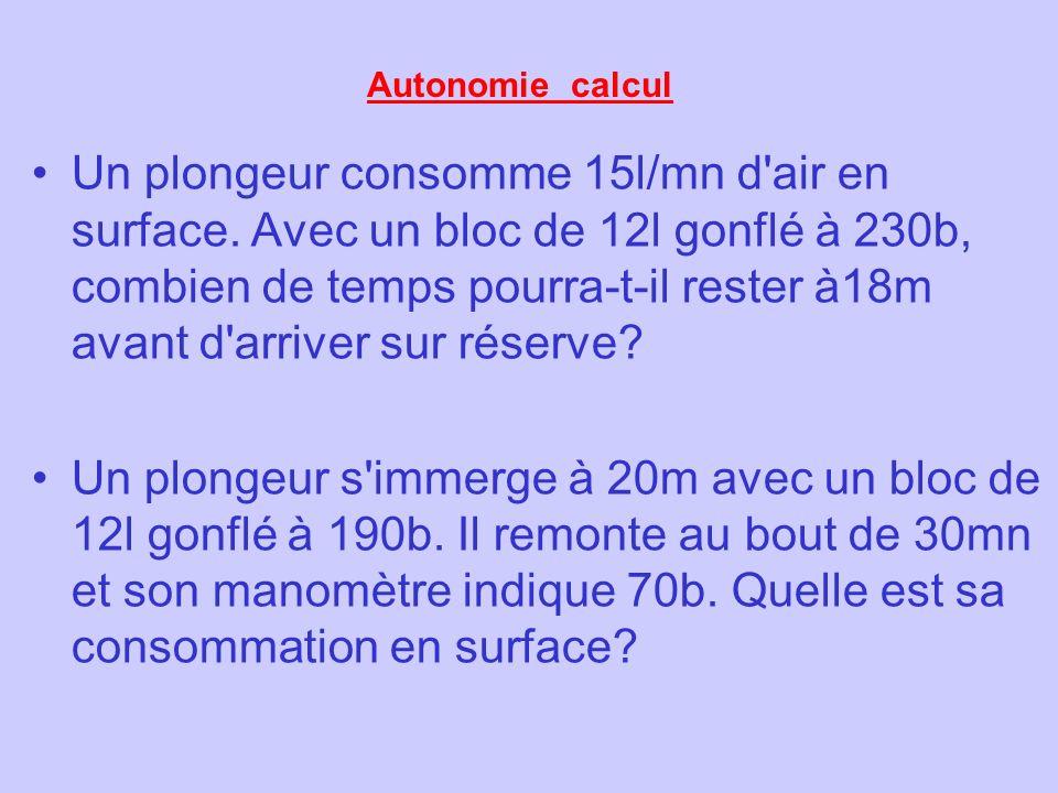 Autonomie calcul Un plongeur consomme 15l/mn d'air en surface. Avec un bloc de 12l gonflé à 230b, combien de temps pourra-t-il rester à18m avant d'arr