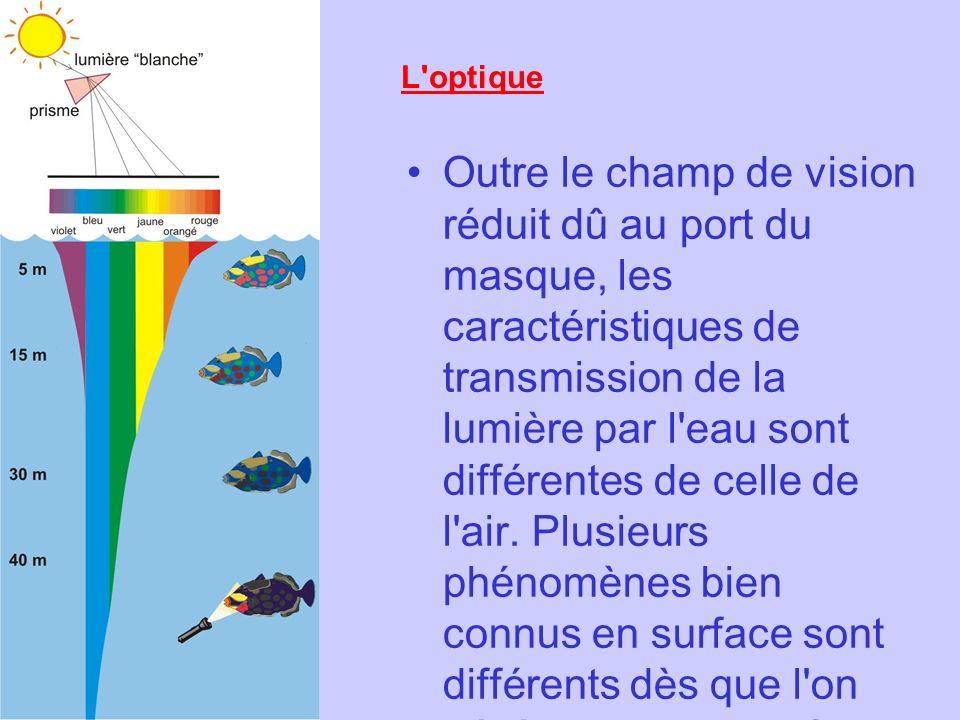 L'optique Outre le champ de vision réduit dû au port du masque, les caractéristiques de transmission de la lumière par l'eau sont différentes de celle