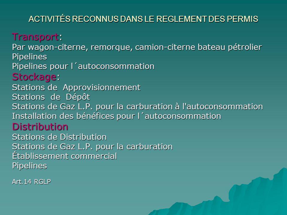 ACTIVITÉS RECONNUS DANS LE REGLEMENT DES PERMIS Transport: Par wagon-citerne, remorque, camion-citerne bateau pétrolier Pipelines Pipelines pour l´aut