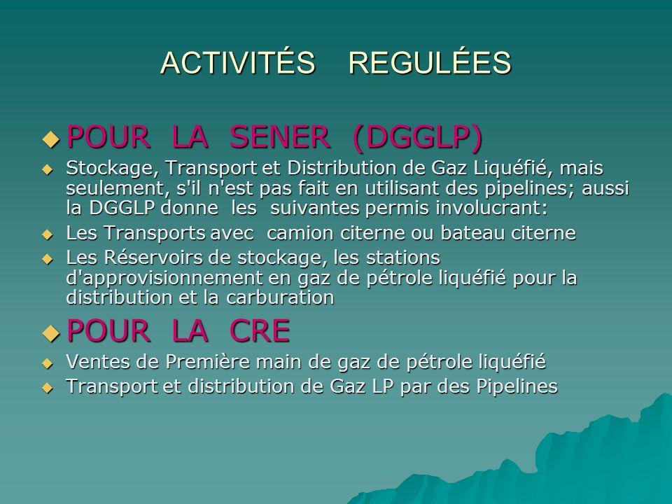 ACTIVITÉS REGULÉES POUR LA SENER (DGGLP) POUR LA SENER (DGGLP) Stockage, Transport et Distribution de Gaz Liquéfié, mais seulement, s'il n'est pas fai