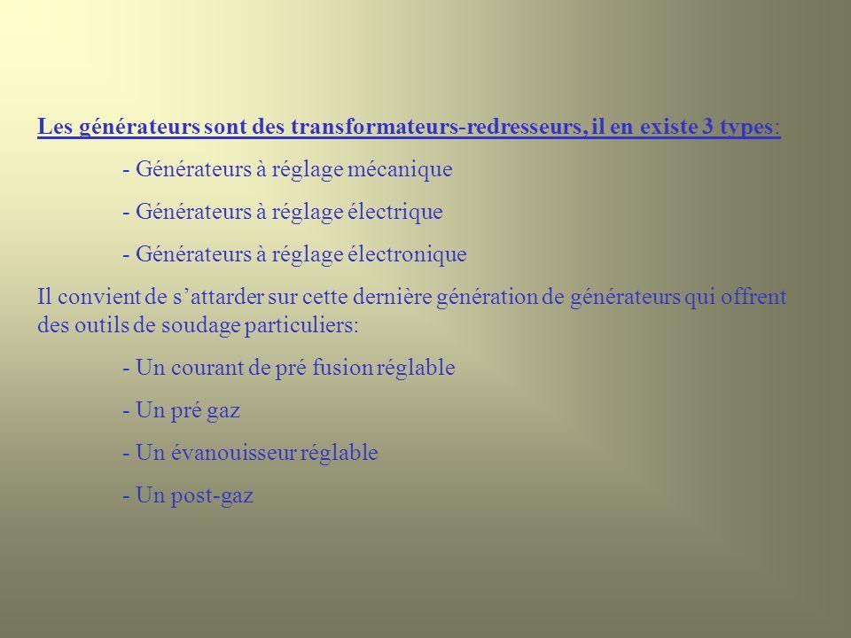 Les générateurs sont des transformateurs-redresseurs, il en existe 3 types: - Générateurs à réglage mécanique - Générateurs à réglage électrique - Gén